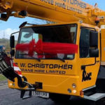 New Leibherr Crane being delivered to R.W. Christopher Head Office