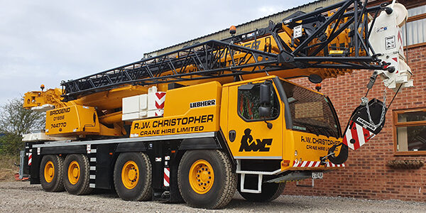 R.W. Christopher 90T Liebherr LTM 1090-4.2 Crane in yard